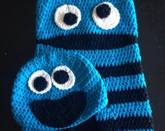 Crochet Cookie Monster Inspired Pants and Hat Set, Cookie Monster, Cookie Monster Costume, Baby Gift, Elmo, Picture Outfit, baby boy, Newbor