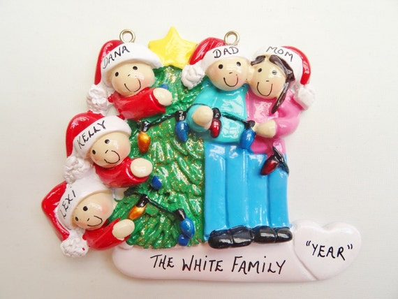 Family of 5 Decorating Tree Christmas Ornament Family of 5