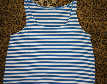 bright blue and white striped tank top