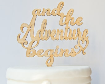 And so the Adventure Begins with Heart Wedding Cake Topper