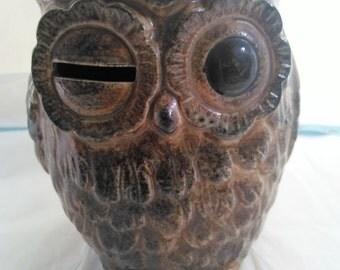 Ceramic Paul Marshall Winking Owl Bank Vintage