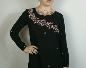 """Black, Purple + Pink Embroidered Flower Long Sleeve Tunic Dress size S/M (bust 34"""")"""