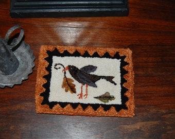 Olde Harvest Crow Primitive Punch Needle Mini Rug