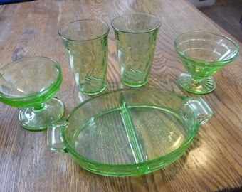 Green Glass 1 Divided Dish 2 Cups 2 Desert Dishes