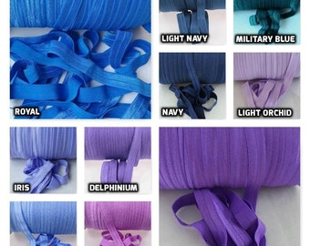 FOE Fold Over Elastic - Solid Colours by the Metre - Purple & Blue Tones - 5/8 - 16 mm
