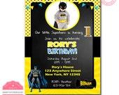 batman photo invitation, batman birthday invitation with photo, boy batman birthday invitation, 1st birthday invitation batman