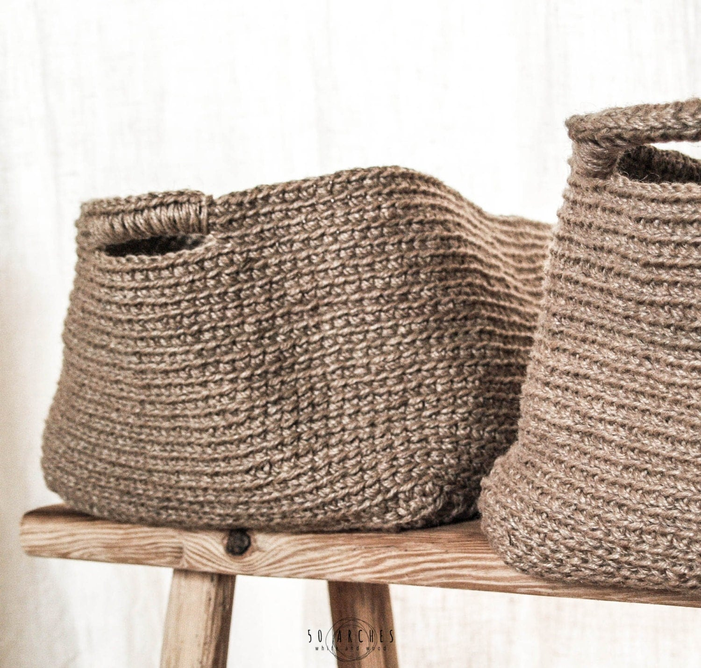 Handmade Jute Baskets : Handmade jute rectangular basket large crochet by arches