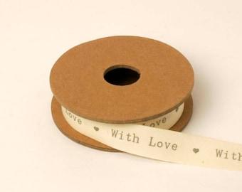 With Love Cream Ribbon, Cream Ribbon, Wedding Ribbon, Gift Wrapping, Ribbon, Hearts Ribbon, Wedding Decorations, Crafting Supplies