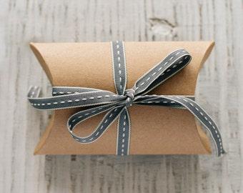 Charcoal Grey Ribbon With White Stitching, Grey Ribbon, Sewing Supplies, Craft Supplies, Wedding Supplies, Ribbon, Gift Wrapping, Wedding