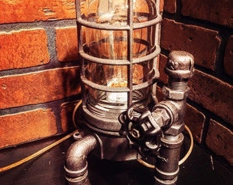 Steampunk Industrial Desk Lamp with Flat Black handle