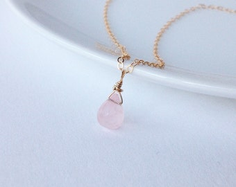 Gold necklace, necklace with gold, necklace with pendant, necklace with Rose Quartz, pink quartz necklace, necklace with pink quartz drop pendant
