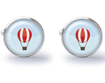 Hot Air Balloon Cufflinks - Balloon Cuff Links - Flying Cufflink (Pair) Lifetime Guarantee