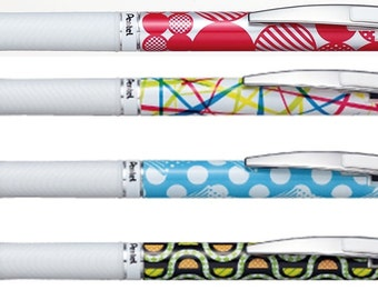 4 X Pentel EnerGel Roller Pen 0.5mm Limited Edition Black ink special pattern