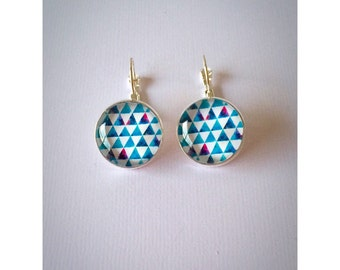 Blue Triangle Hang Earrings