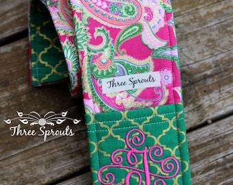 Camera Strap, Camera Strap Cover, Monogrammed Camera Strap, Padded Camera Strap -Pink and Green Paisley