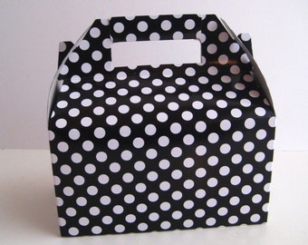10 Gable Boxes -  Black & White Polka Dot