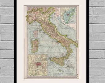 Italy Map Poster (1897) | Vintage Wall decor | Antique Italian Map
