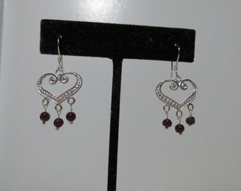 Sterling Silver Heart Earrings With Garnets