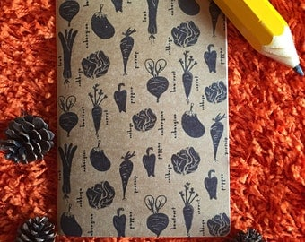A4 A5 vegetable cooking handmade organic pattern recycled notepad notebook sketchbook