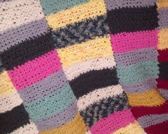 Hand Crocheted Multi Colored Afghan