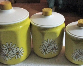 Retro Metal & Plastic Yellow Canisters Featuring White Daisies, Set of 3