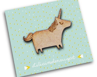 PIN Unicorn - Wood and metal-engraving and cutting laser - gift jewelry