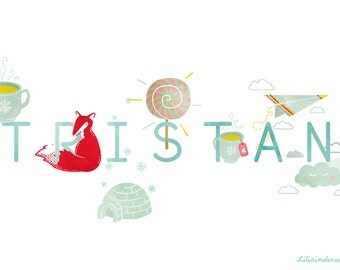 Displayed name in illustration - customizable - child