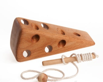 """Wooden lacing toy """"For cheese-lovers"""" Montessori Learning toy Fine Motor Skills Educational Wooden Toy Handmade Wood Toys for Kids"""