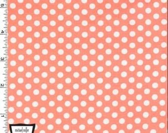 9.95 Yard - Michael Miller Kiss Dot CX5518-Peach - Peach Blue - Fabric 100% Cotton