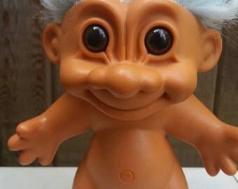 "Large 7"" Vintage Russ Troll Doll Crazy Light Blue Hair//Vintage Toys//Trolls//Russ//90's."