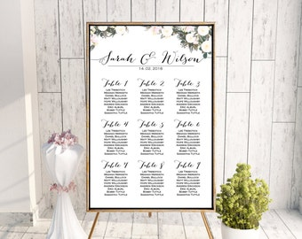 White Floral Printable Custom Wedding Seating Chart, Wedding Seating Poster, Wedding Seating Sign, Wedding Seating Board WD69 WC56