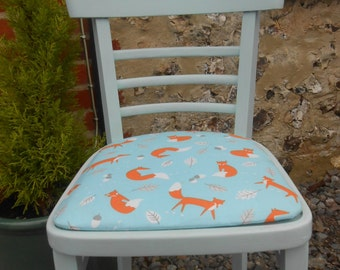 Childs 'Mr Fox' Chair. Hand painted in duck egg blue and newly reupholstered