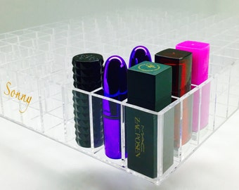 "Acrylic Makeup ""Alex 130"" Lipstick organizer Ikea Alex Drawer HOLDS 130 Lipglosses dividers Tray clear"