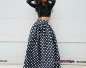 Black with White Polka Dot Maxi Skirt (XS - 6XL)