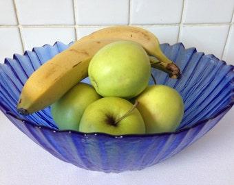 Cobalt Blue Glass Fruit Bowl