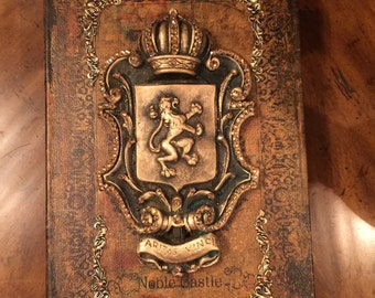 Decorative Embellished Tabletop Book Box with Lion Shield and Bling - Free Shipping
