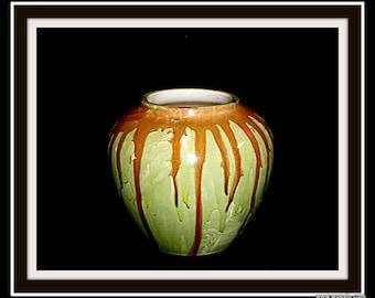 Glazed dutch ceramics flower pot.