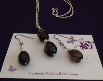Smokey Quartz and Mother of Pearl necklace and earring set.