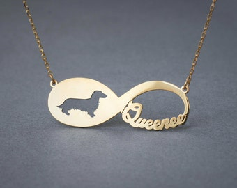 14k Solid Gold Personalised INFINITY DACHSHUND LONGHAIRED Necklace - 14k Gold Dachshund Necklace - Name Necklace