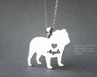 ENGLISH BULLDOG NAME Necklace - English Bulldog Name Jewelry - Personalised Necklace - Dog breed Necklace - Dog Necklaces