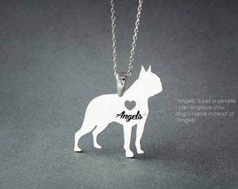 BOSTON TERRIER NAME Necklace - Boston Terrier Necklace - Personalised Necklace - Dog breed Necklace - Dog Necklace