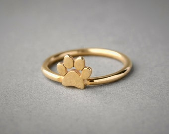 14k Solid Gold Paw Ring • Paw Ring • Dog Ring • Cat Ring • Paw Print Ring • Paw Jewelry • Paw Print • 14K Gold Ring • Jewelry • Dog • Cat