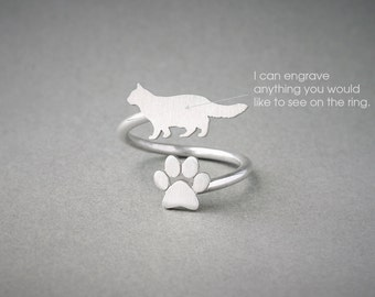 Adjustable Spiral LONGHAIRED CAT and PAW Ring / Longhaired Cat Ring / Paw Ring / Cat Ring / Silver, Gold Plated or Rose Plated.