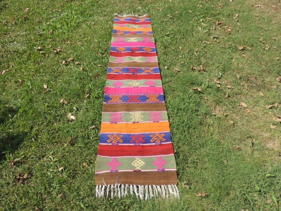 Vintage Colorful Boho Turkish Kilim Rug, Runner Rug