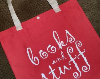 Books and Stuff tote bag, Library bag, basic tote, farmers market, library tote, book tote