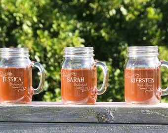 20 Personalized Bridesmaids Gifts,  Wedding Mason Jars, Mason Jars Bulk, Personalized Bridesmaid Gift, Will You be my Bridesmaid, Mason Jars