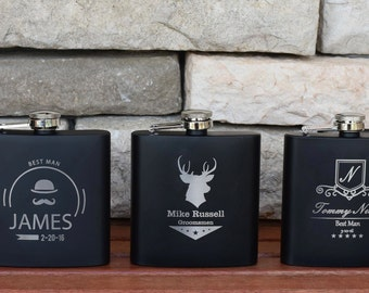3 Personalized Flasks, Custom Engraved Groomsmen Gift, Wedding Party Favors, Steel Flask, 3 Flasks