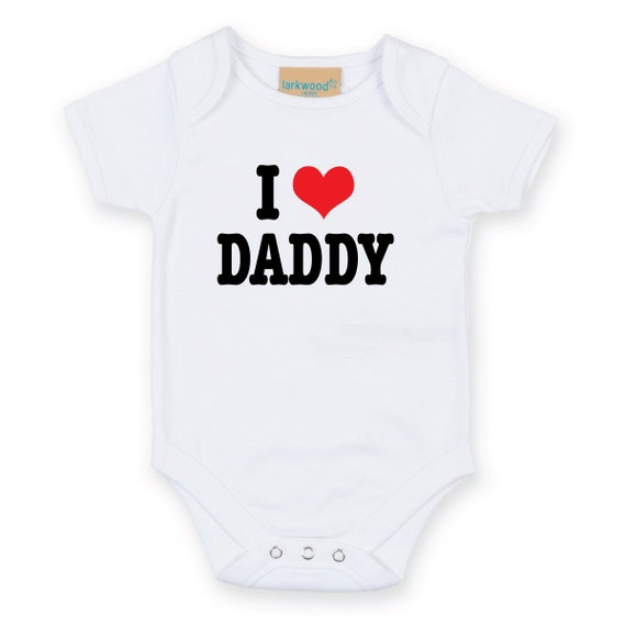I Heart Love Daddy dad papa pappy dada Baby Grow cute heart Body Suit Baby Onesie Sleep Suit sleepwear mum to be baby shower gift new born
