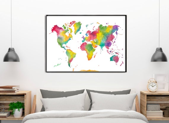 RAINBOW WORLD MAP Colorful watercolor Art Print, Watercolor, Birthday Gift, Wedding gift, World map poster, World watercolor, Carte du monde