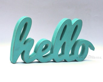Hello sign | Hello wooden letters | Rustic letters | Hello Shabby Wooden letters | standing letters